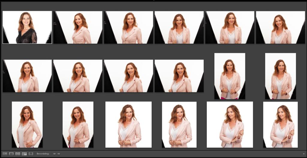 Foto's tijdens fotoshoot Inge Verhouden en online selectie door opdrachtgever.